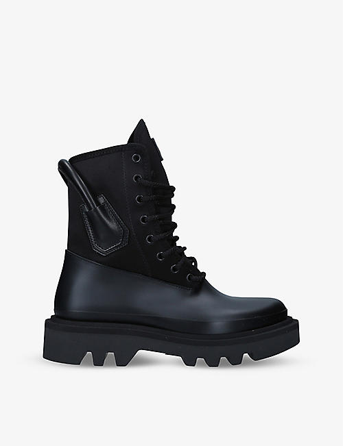 GIVENCHY: Logo-plaque satin and leather combat boots