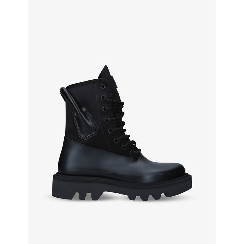 Givenchy LOGO-PLAQUE SATIN AND LEATHER COMBAT BOOTS