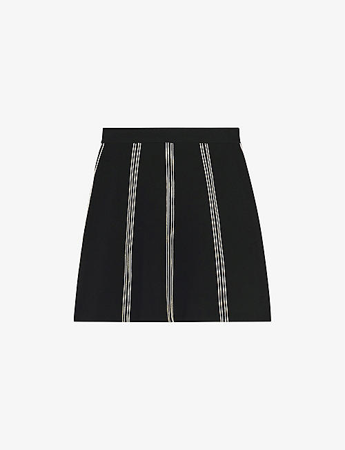SANDRO: Eudine checked stretch-knit mini skirt