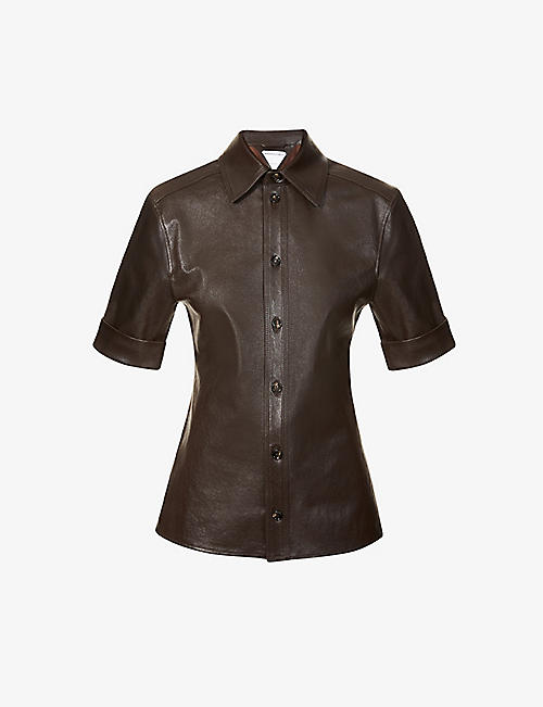 BOTTEGA VENETA: Short-sleeve leather shirt