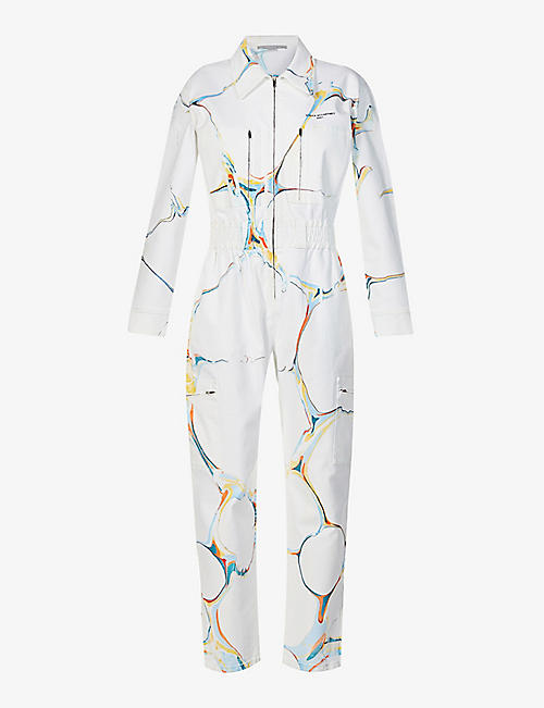STELLA MCCARTNEY: Marbled brand-print stretch-denim jumpsuit