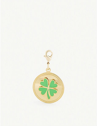 WILHELMINA GARCIA: Four-leaf clover gold-plated sterling silver medal charm