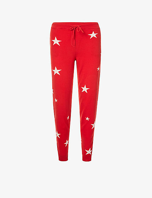 CHINTI AND PARKER: Star-pattern tapered mid-rise cashmere jogging bottoms