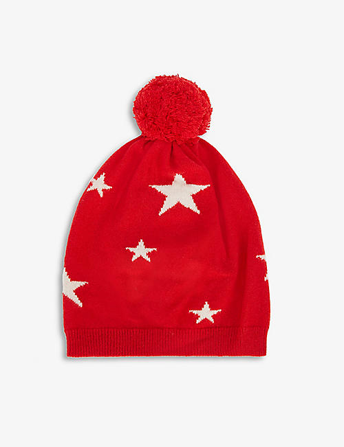 CHINTI AND PARKER: Star-print cashmere beanie hat