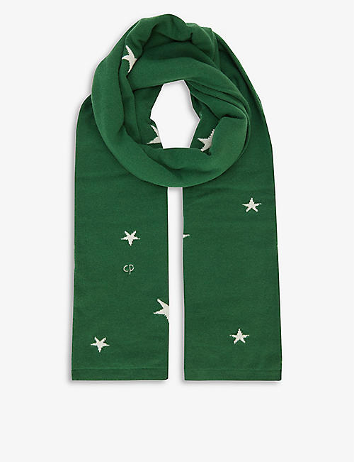 CHINTI AND PARKER: Star-print cashmere scarf