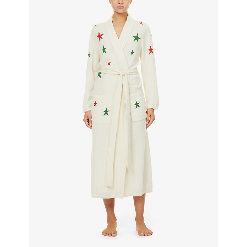 Exclusive star-intarsia cashmere dressing gown