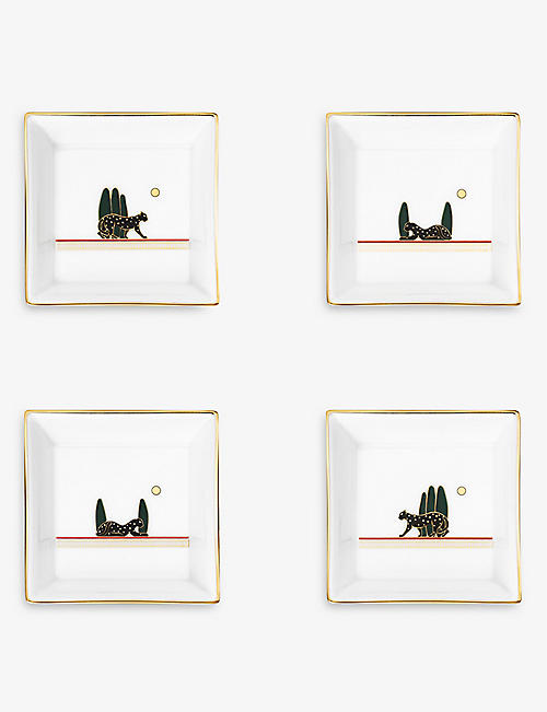 CARTIER: Panthère de Cartier small porcelain trinket trays set of four