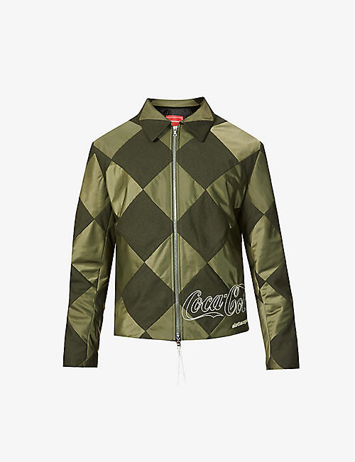 CLOTHSURGEON: clothsurgeon x Coca-Cola patchwork wool-blend and satin jacket