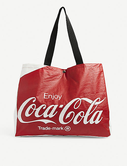 CLOTHSURGEON: Upcycled clothsurgeon x Coca-Cola brand-print woven tote
