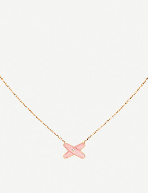 CHAUMET: Jeux de Liens 18ct rose-gold, diamond and pink opal pendant necklace