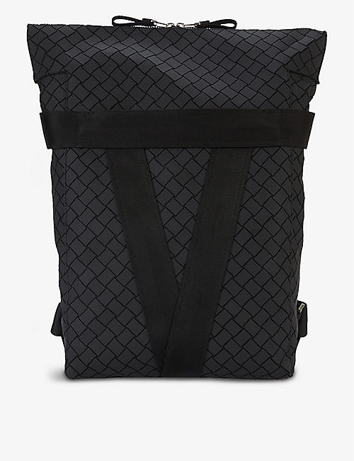 BOTTEGA VENETA: Geometric-pattern cotton-blend backpack
