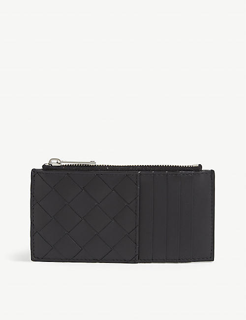 BOTTEGA VENETA: Intrecciato zipped leather cardholder