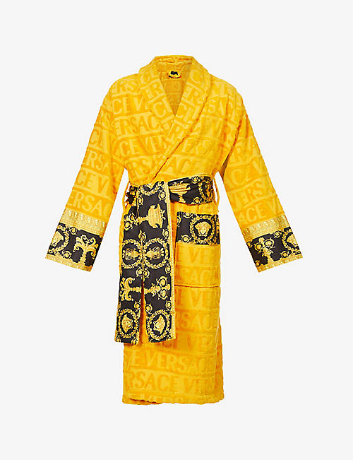VERSACE: Logo and baroque-print cotton-terry dressing gown