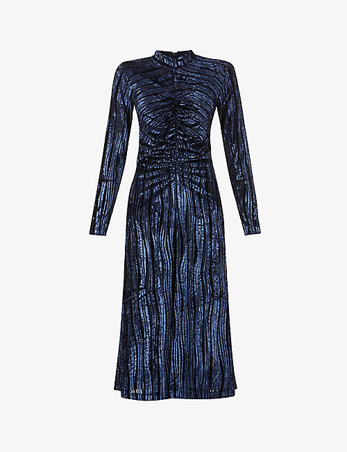 STINE GOYA: Asher metallic high-neck velvet midi dress