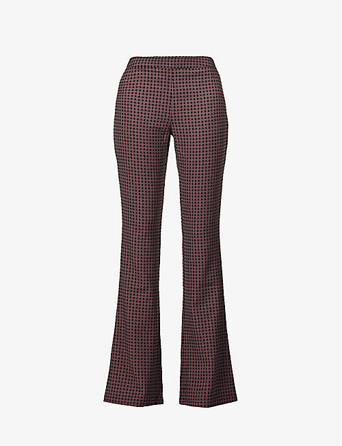 STINE GOYA: Nolan geometric-print mid-rise recycled polyester-blend trousers