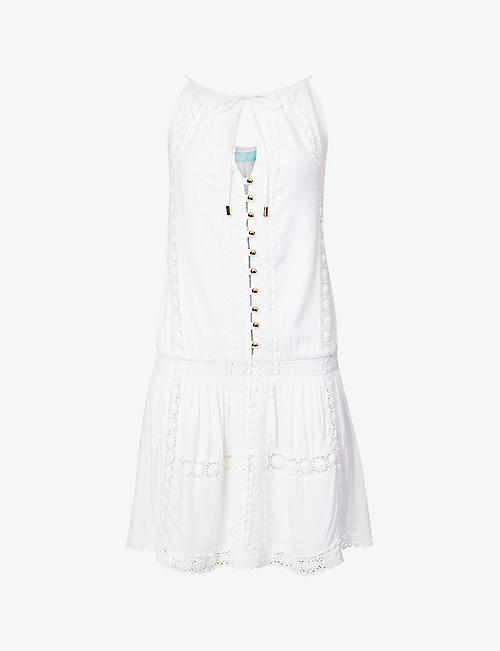 MELISSA ODABASH: Chelsea sleeveless broderie-print woven mini dress