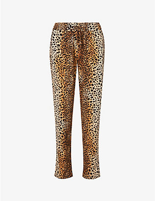 MELISSA ODABASH: Jude leopard-print tapered high-rise woven trousers