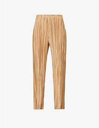 CULT GAIA: Kersti pleated high-rise satin trousers