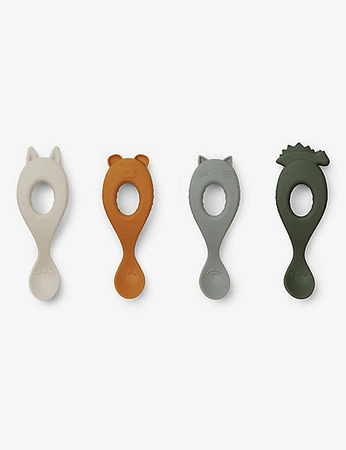 LIEWOOD: Liva animal silicone spoons set of four