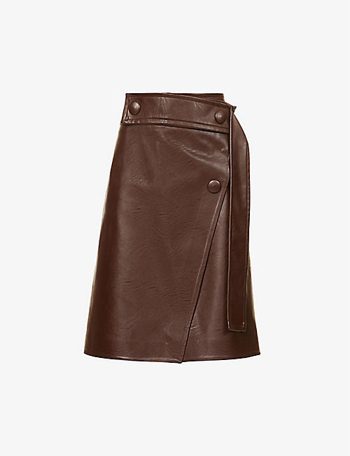 STELLA MCCARTNEY: Paola wrap-front faux-leather midi skirt