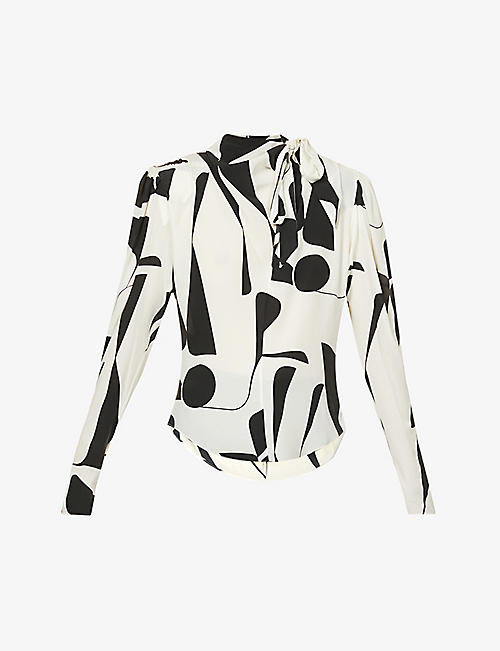 ISABEL MARANT: Afavallia geometric-print silk-blend top