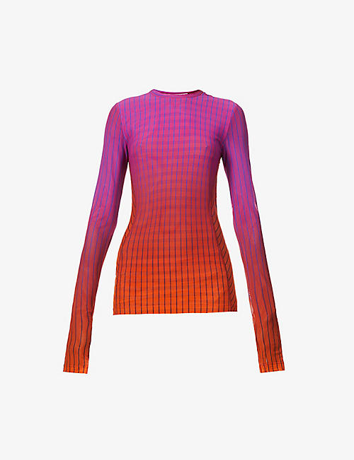 FENTY: Striped loose-fit stretch-mesh top
