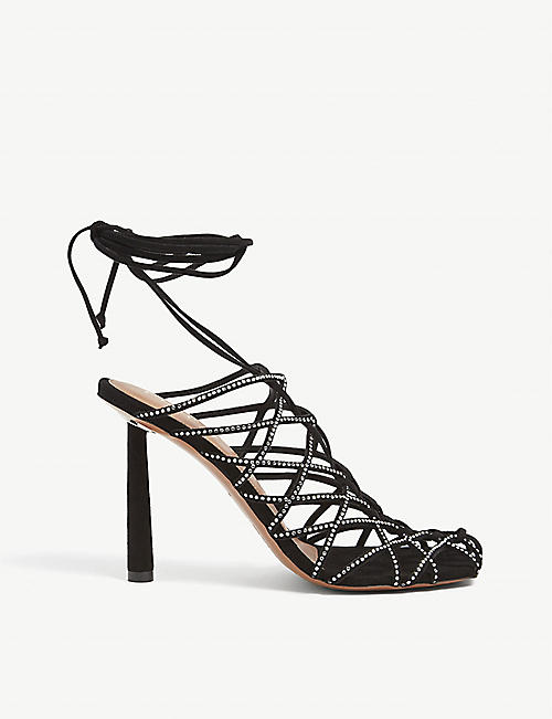 FENTY: Caged In crystal-embellished lace-up leather sandals