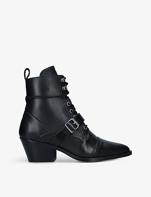ALLSAINTS: Katy pointed-toe leather ankle boots