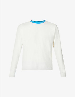 ERL: Crewneck rolled-hem cotton-jersey top
