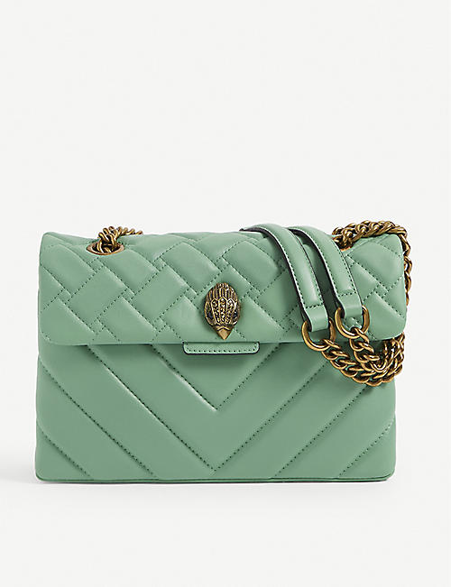 KURT GEIGER LONDON: Kensington bird-clasp leather shoulder bag