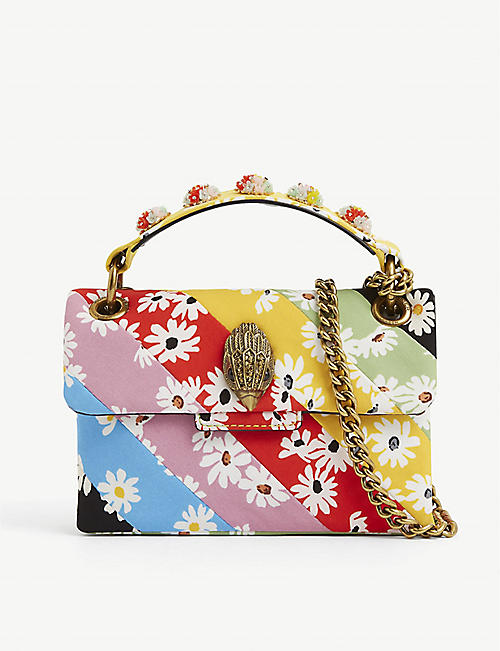 KURT GEIGER LONDON: Kensington Mini floral-print leather cross-body bag