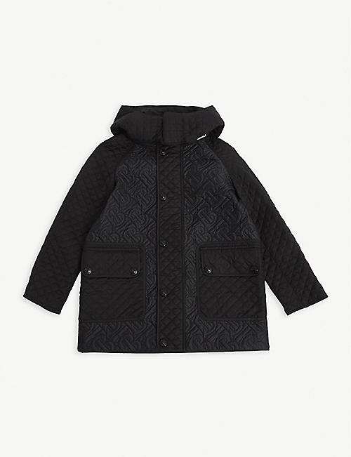 BURBERRY: Gabriel quilted satin coat 4-14 years