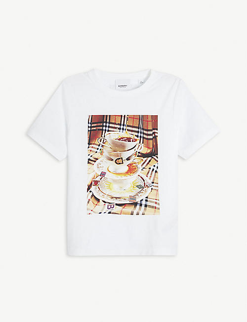 BURBERRY: Teacup-print cotton T-shirt 4-14 years