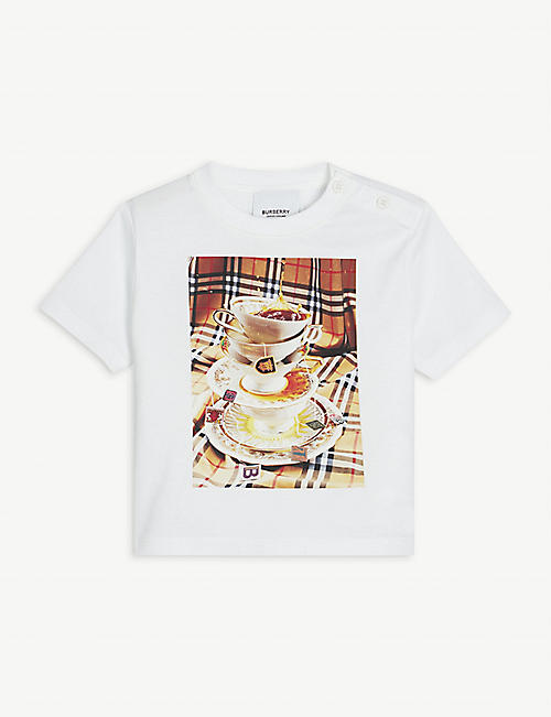 BURBERRY: Teacup-print cotton T-shirt 6-24 months