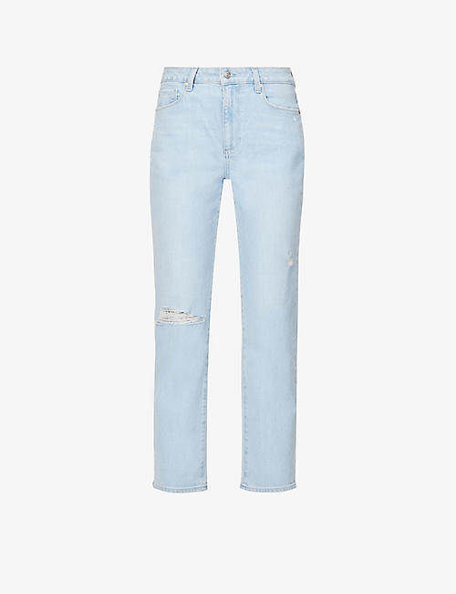 PAIGE: Noella straight-leg mid-rise stretch-denim jeans
