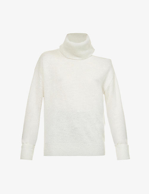 PAIGE: Raundi turtleneck cut-out metallic-knit jumper