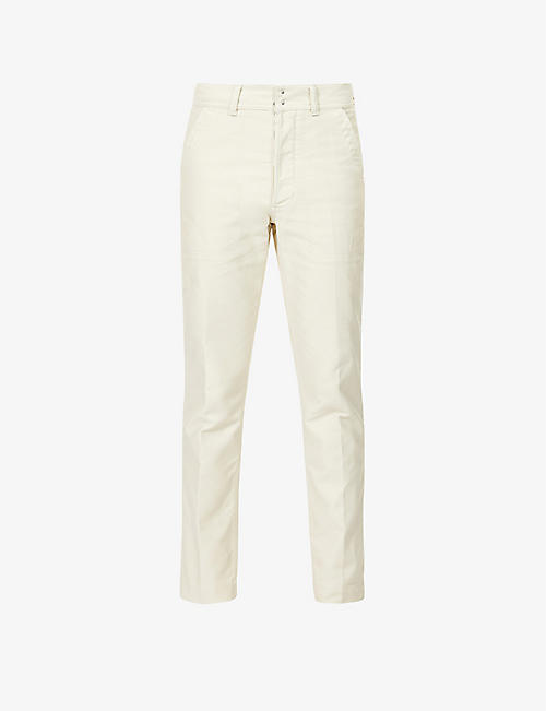 TOM FORD: Slim pressed-crease cotton-drill trousers