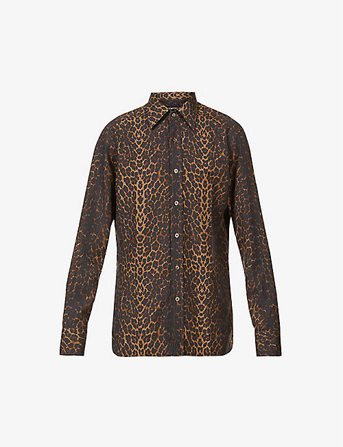 TOM FORD: Leopard-print relaxed-fit crepe shirt