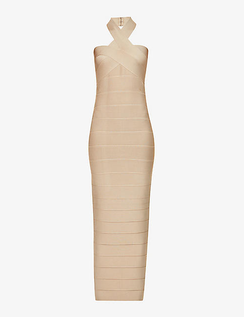 HERVE LEGER: Bandage halterneck stretch-knit gown