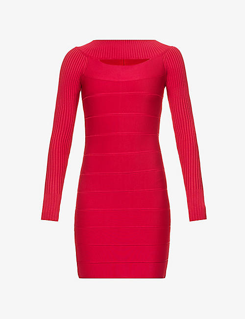 HERVE LEGER: Boat-neck bandage stretch-knit mini dress