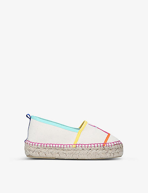 KURT GEIGER LONDON: Morella embroidered canvas espadrilles