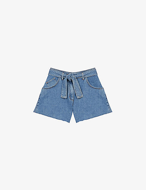 MAJE: Tie-belt organic cotton-stretch shorts