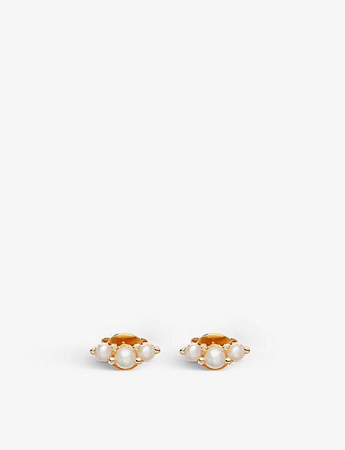 MISSOMA: Pearl trio 18ct yellow gold-plated vermeil stud earrings