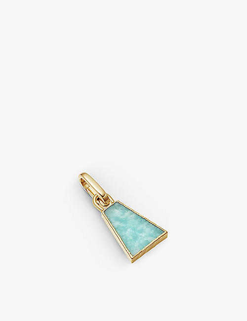 MISSOMA: Triangle 18ct yellow gold-plated vermeil and amazonite clip-on pendant