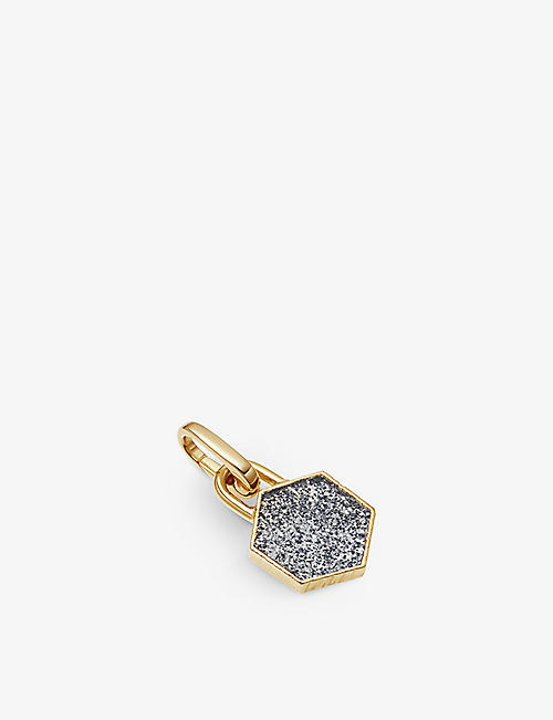 MISSOMA: Hexagonal 18ct yellow gold-plated vermeil and star quartz clip-on pendant