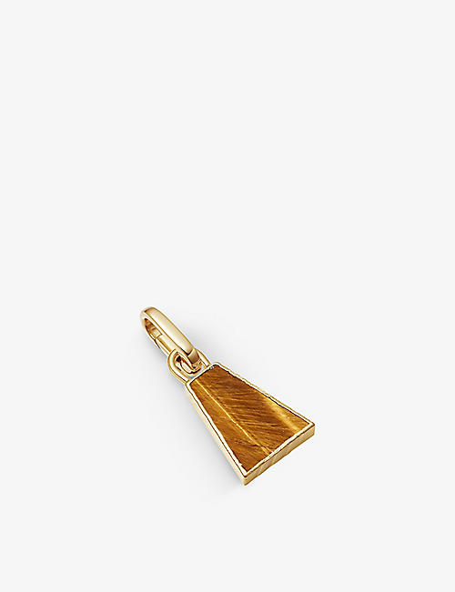 MISSOMA: Triangle 18ct yellow gold-plated vermeil and tiger's eye clip-on pendant