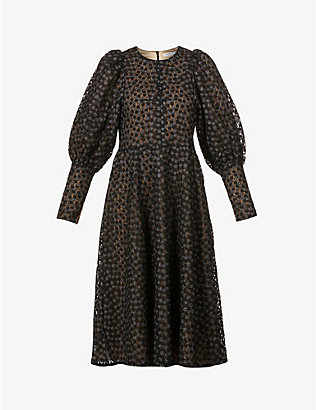 SAMSOE SAMSOE: Pimo Juliet-sleeve woven midi dress