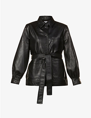 SAMSOE SAMSOE: Vestine puffed-sleeve faux-leather jacket