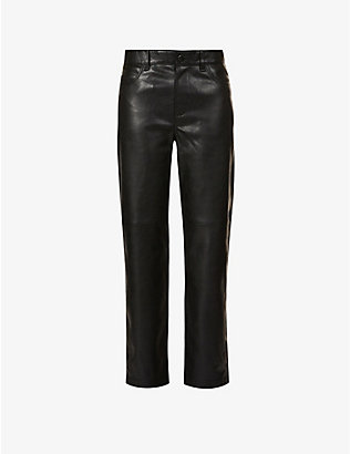 SAMSOE SAMSOE: Vestine straight-leg mid-rise faux-leather trousers