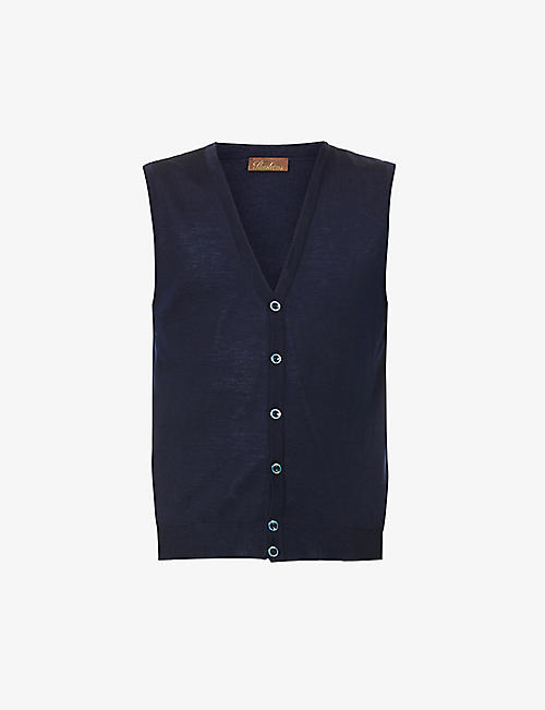 STENSTROMS: Sleeveless V-neck wool cardigan